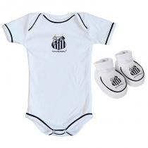 Body e Pantufa Bebê Santos Branco - Torcida Baby - 7912efe4dbc16