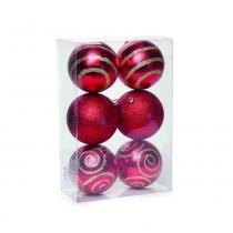 Bola De Natal P/ Árvore 6 Pçs 10Cm Vermelha - Cromus