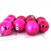 Bola de Natal Pink Mista 5cm - 10 unidades - Aluá festas