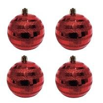 Bola de Natal Plástico 8cm 4 Peças Dijon Niazitex Vermelho -