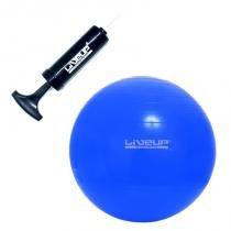 Bola Suíça 65 CM para Pilates Azul com Bomba Manual de Inflar LIVEUP -