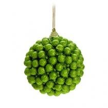 Bolas Arvore de Natal Coberta com Bolinhas Verde - 4 Unidades 10 Cm - Cromus