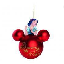 Bolas para Arvore Disney 3D Branca de Neve Vermelho - 2 Unidades 8 Cm - Cromus
