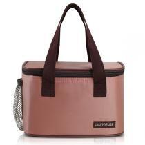 Bolsa térmica marmita fitness academia com alça e zíper e bolso lateral jacki design rosa -