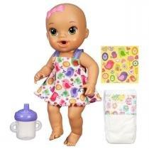 Boneca Baby Alive Hora do Xixi Morena Roupa Colorida Hasbro - Hasbro