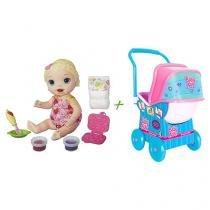 Boneca Baby Alive Lanchinhos Divertidos Hasbro - Loira + Carrinho de Bebê Baby Alive Cotiplás