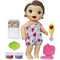 Boneca Baby Alive  Super Snacks  - Lanchinhos Divertidos Morena com Acessórios Hasbro