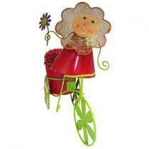 Boneca de Flor com Bicicleta de Ferro Para Enfeite e Decoraçao de Jardim (BON-P-11) - Braslu