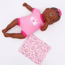 Boneca Nenenzinha Negra com Paninho Rosa Divertoys - Divertoys