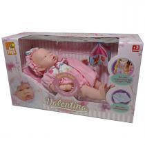 Boneca Valentina com Canguru e Cobertor Rosa Bee Toys -
