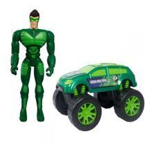Boneco Com Carro Super Vigilante Verde - Mielle - Unik toys