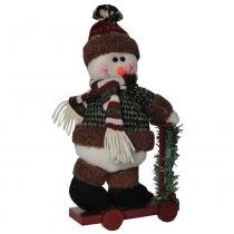 Boneco de neve de luxo pelúcia com patinete com 31cm de altura cbrn0470 - Commerce brasil