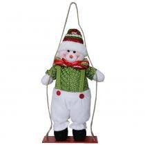 Boneco de neve de pelúcia no balanço com 35cm de altura cbrn0272 cd0035 - Commerce brasil