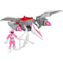 Boneco Imaginext - Power Rangers - Ranger Rosa e Zord Pterodáctilo Fisher-Price