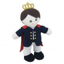 Boneco Malha Grande Pequeno Príncipe em Pé Marinho e Vermelho com Coroa - Mury Baby