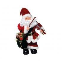 Boneco Papai Noel Violino C/ Música Natal A Pilha Vermelho - Cromus