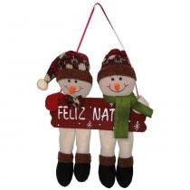 Bonecos de neve pelúcia de luxo com placa feliz natal 25cm de altura cbrn0456 cd 0084 - Commerce brasil