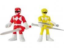 Bonecos Imaginext Mighty Morphin Power Rangers - Red Ranger & Yellow Ranger com Acessórios Mattel