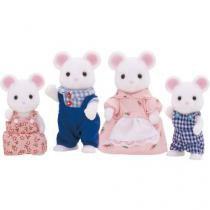 Bonecos Sylvanian Families - Família dos ratos branco Epoch Magia