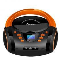 Boombox Rádio AM/FM com CD/MP3 Player, USB e Entrada Auxiliar Preto e Laranja - Lenoxx - Lenoxx