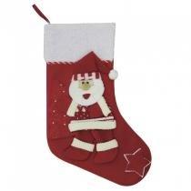 Bota Papai Noel com Estrela 50,5cm Niazitex Vermelho -