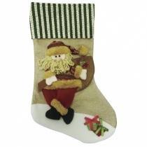 Bota Papai Noel Divertido 50cm Niazitex Bege -