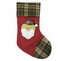 Bota Papai Noel Feliz Xadrez 50,5cm Quebec Niazitex Verde/Vermelho -