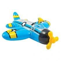 Bote Inflável Infantil Avião Com Pistola De Água - Intex - Azul - Intex
