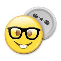 Botton emoticon - emoji nerd geek - Yaay