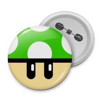 Botton gamer cogumelo verde 1up - Yaay