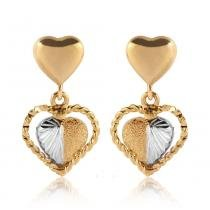 Brinco Ouro Coração Diamantado Granitado I - Ouro Amarelo - Único - Rosana Joias