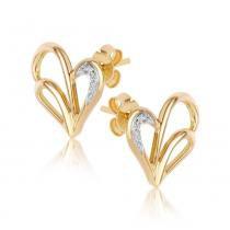 Brinco Ouro Coração Vazado com Diamante 6 Pontos - Ouro Amarelo - Único - Rosana Joias