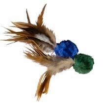 Brinquedo Kong Crinkle Ball Feathers CC4 Verde com Azul para Gatos - Kong