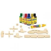 Brinquedo Para Colorir Aviao 3D Madeira Acrilex - Acrilex