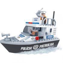 Brinquedo Para Montar Policia Barco Policial 83Pcs Play Cis - Play Cis