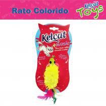 Brinquedo Rato Colorido com Pluma Kelcat - Kelco