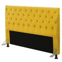 Cabeceira Cama Box Casal 195cm Cristal Suede Amarelo - JS Móveis -