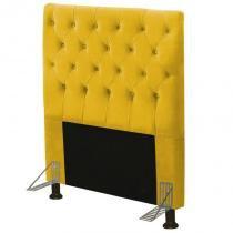 Cabeceira Cama Box Casal 90cm Cristal Suede Amarelo - JS Móveis -