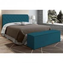 Cabeceira com Calçadeira Baú Paris para Colchão Box de 160 cm Azul Velur Textura - JS Móveis -