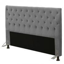 Cabeceira para Cama Box Casal 140cm Cristal Suede Cinza - JS Móveis -