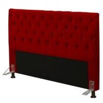 Cabeceira para Cama Box Casal 140cm Cristal Suede Vermelho - JS Móveis -
