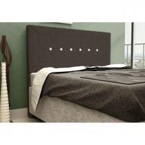 Cabeceira para Cama Casal Box 160 cm Vegas - JS Móveis - Suede Amassado Chocolate -