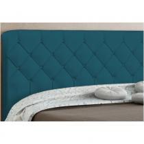 Cabeceira Paris Para Cama Box King Azul Velur Textura - JS Móveis