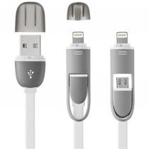 Cabo 2 em 1 Micro USB Com Adaptador Para IPhone 5/6/7 1,5M Branco WI334 Multilaser. -
