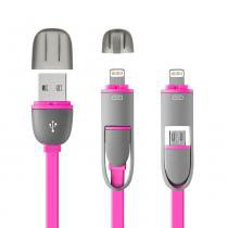 Cabo 2 Em 1 Micro Usb E Iphone 5/6/7 Rosa 1,5M - WI336 - Multilaser