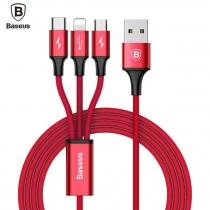 Cabo Baseus 3x1 Cabo Speed 3a Lightning + Micro Usb + Tipo C -