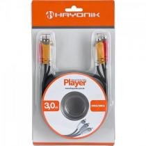 Cabo de audio e video linha player 3rca3 3 metros preto hayonik Hayonik