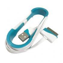 Cabo de dados usb flat para iphone 4/4s ipad ipod 1 metro branco e azul compativel - Importado