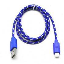 Cabo de dados usb para iphone 5 5s 5c nylon 3 metros azul escuro - Importado