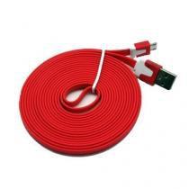 Cabo de dados usb para v8 flat 2 metros vermelho compativel - Importado